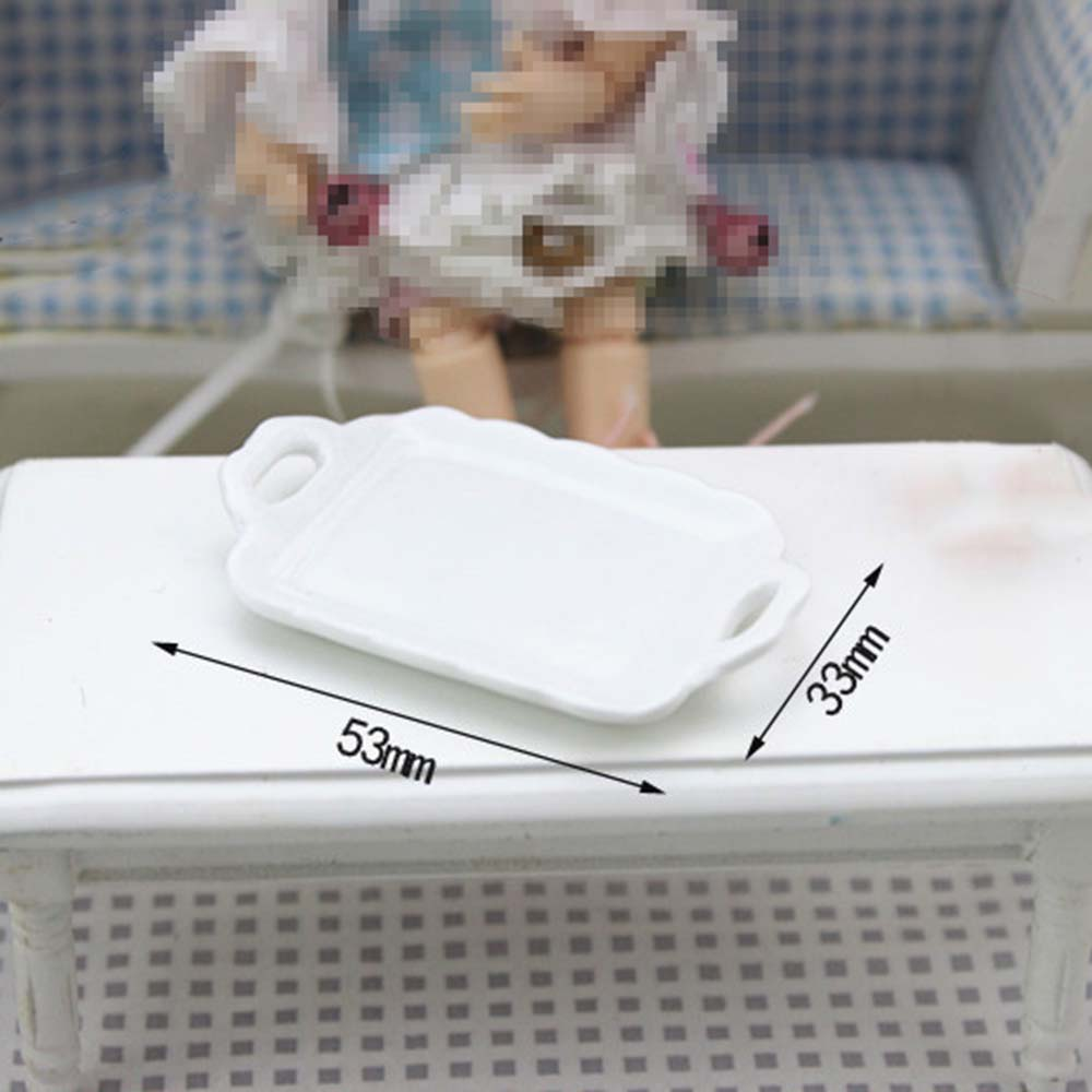 1/12 Dollhouse Miniature Accessories Mini Ceramic Food Tray Simulation Plate Model Toys For Doll House Decoration