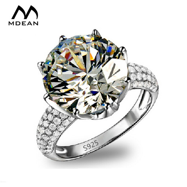 MDEAN Big AAA Zircon Jewelry White Gold Color Rings luxury