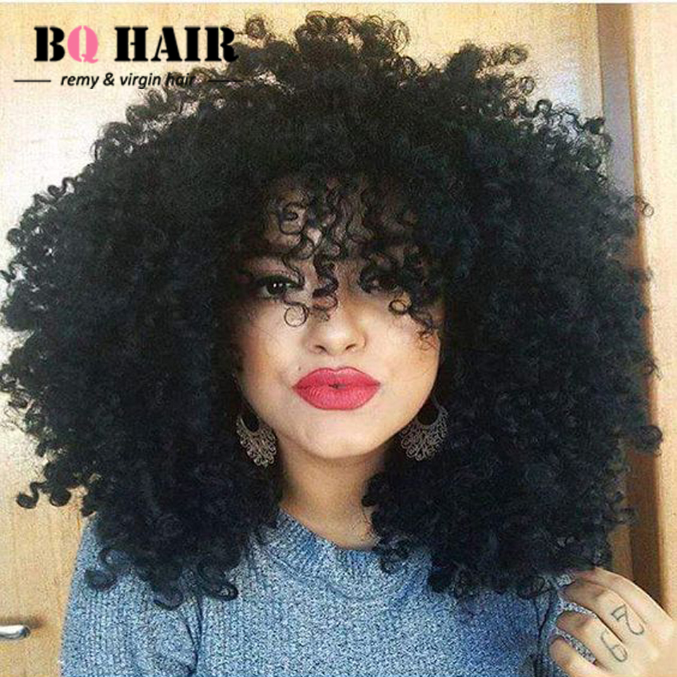 bq hair 8a remy kinky curly brazilian hair sew in weave 360