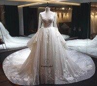 Latest Design Luxurious Wedding Dresses Royal Train Modest Long Sleeve Wedding Gowns vestidos de novia