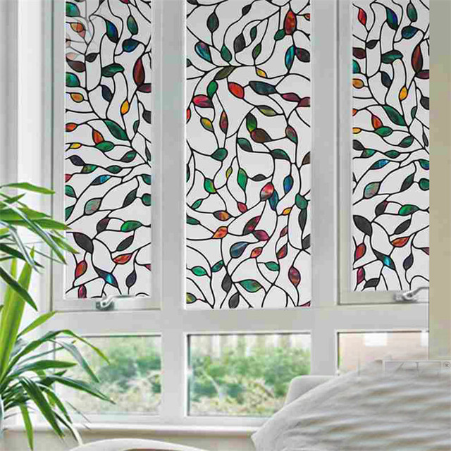 No Glue Static Cling Tree Leaves Stained Gl Window Film Decor Colorful Bathroom Privacy Decal 90 200 Cm