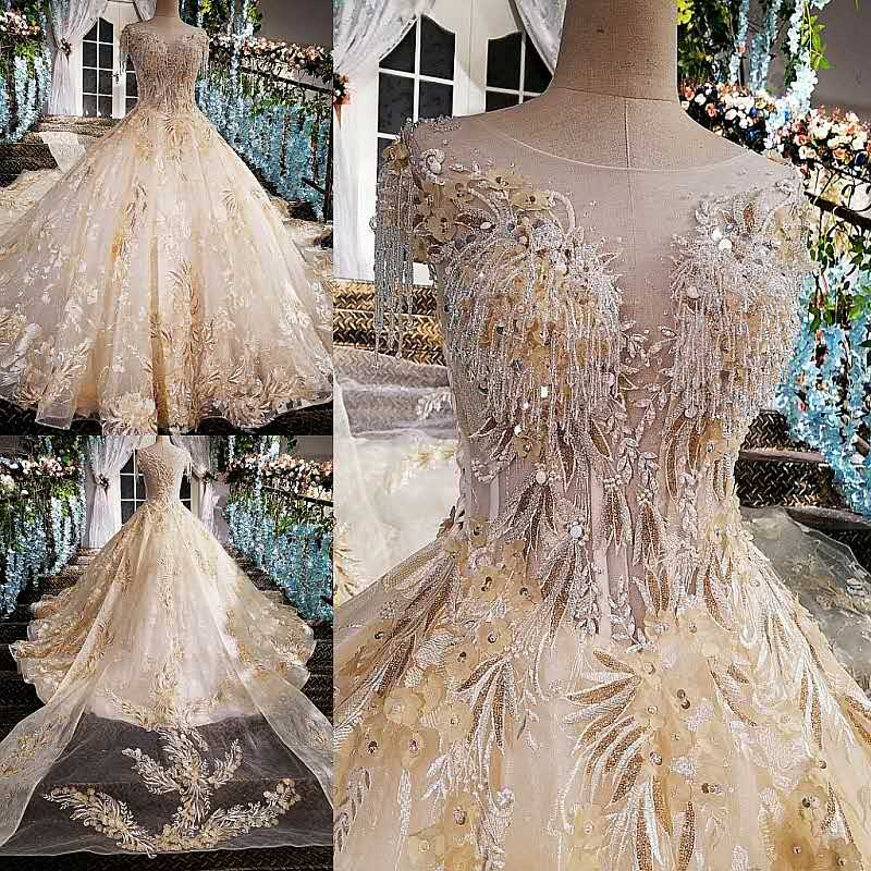 Luxury Lace Crystals Beaded Appliques Champagne Gold Wedding Dresses Bridal Gown 2017 New Long Train Bridal Dresses For Party