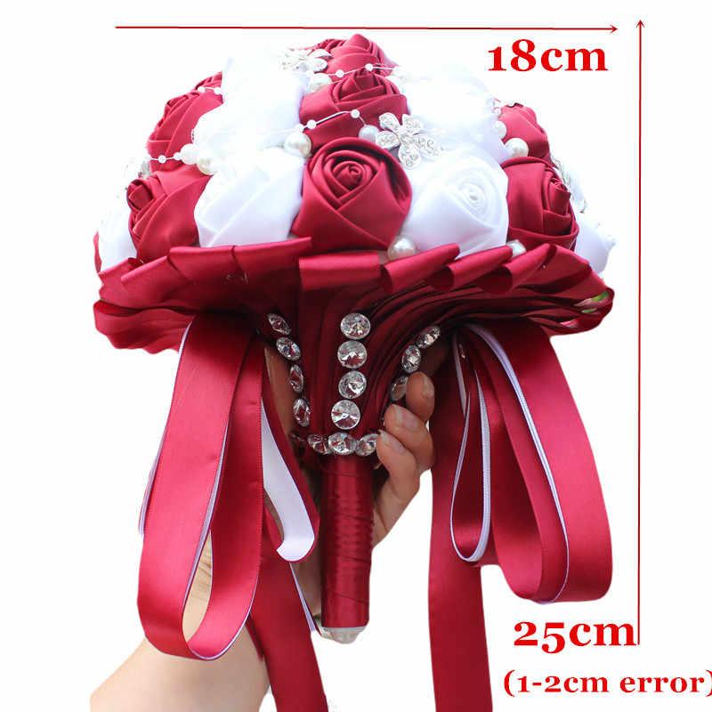 WifeLai-UN Ramos De Novia Borgogna Rosso Bianco di Cristallo Bouquet Da Sposa Su Misura Fiore Artificiale Damigella D'onore di Cerimonia Nuziale Bouquet W224A-2