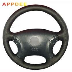 APPDEE czarna sztuczna skórzana osłona na kierownicę do samochodu Mercedes Benz W203 c-class 2001-2007