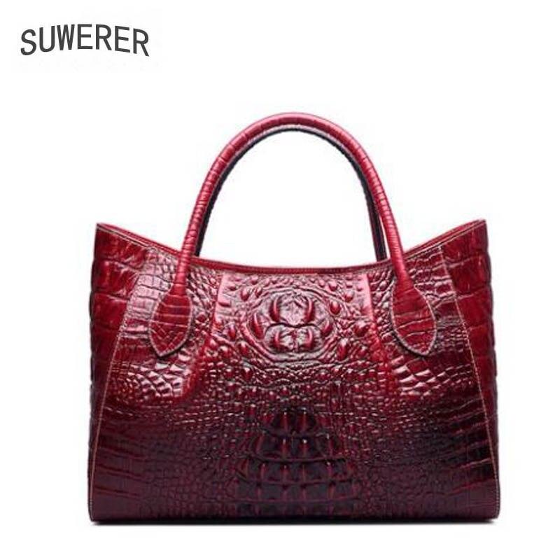 SUWERER  2019 new womens leather shoulder messenger bag High-end crocodile handbag designer bagSUWERER  2019 new womens leather shoulder messenger bag High-end crocodile handbag designer bag
