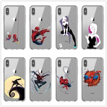 лучшая цена Funny Marvel Spider Man Spider-Gwen Soft Phone Case for iPhone 5 S SE X Phone Cover For iPhone 6s 6 7 8 Plus XS Max XR Coque