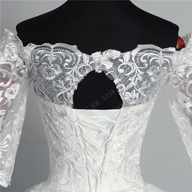 Butterfly Wedding Dress Embroidery Lace Boat Neck Off the Shoulder