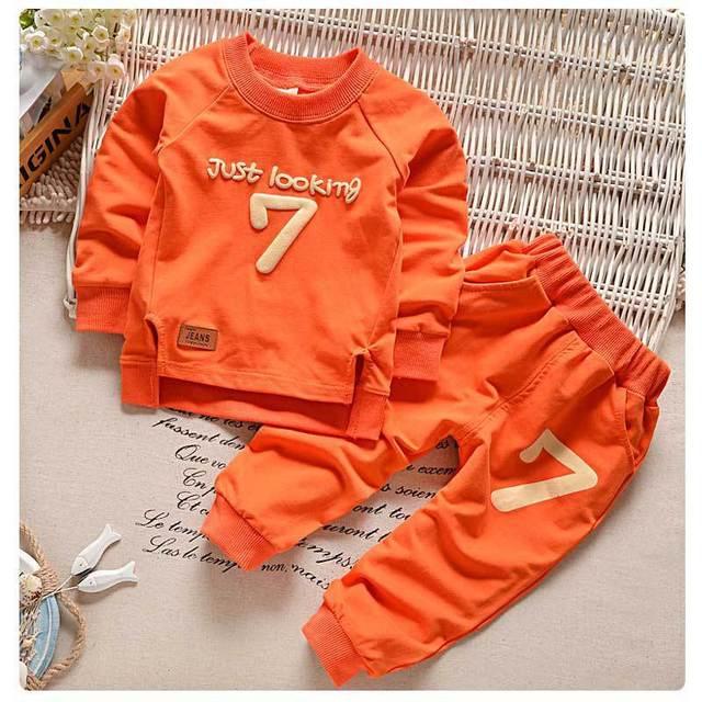 2016 Fall / Winter Girls Boys Clothes Suit Cute Baby Coat Jacket + Pants 2pcs Casual Wear Kids