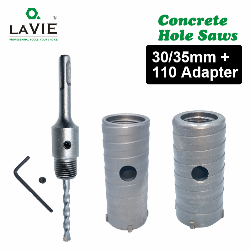 1 Set SDS PLUS 30mm 35mm Concrete Hole Saw Shank 110mm Electric Hollow Core Drill Bit Cement Stone Wall Air Conditioner Alloy