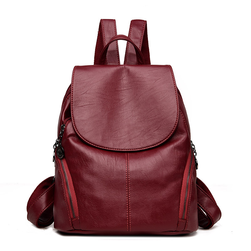 Fashion Female Backpack Leather Large Bags for Women Designer Brand High Quality Backpack Vintage Backpacks for Teenage Girls fashion solid women backpack high quality leather backpack female daily backpack for teenage girls schoolbag leisure daypack sac