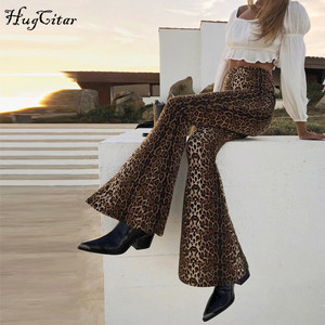 Image 2 - Hugcitar high waist leopard print flare leggings 2020 autumn winter women fashion sexy bodycon trousers club pants