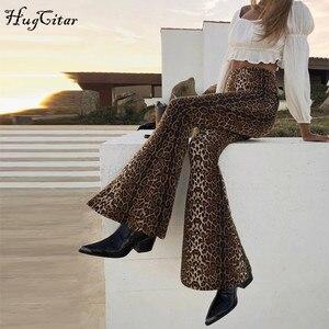 Image 2 - Леггинсы клеш Hugcitar с леопардовым принтом и высокой талией, Осень зима 2020, женские модные сексуальные облегающие брюки, Клубные брюки