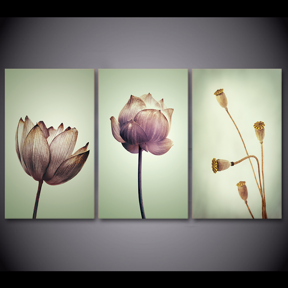 Hot Sale 3 Panel Canvas Art Lotus Flowers Hd Canvas Painting Wall