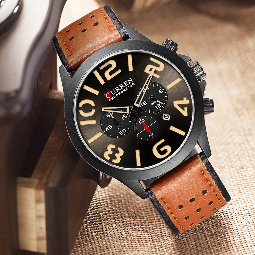 2018 Men Watches Brand CURREN Unique Fashion Chronograph Quartz Wristwatch Leather Strap Display Date Waterproof Clock Relojes цена и фото