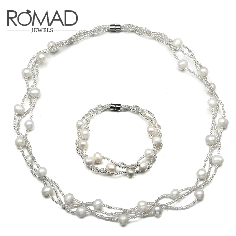 ROXI ROMAD Brand Freshwater Pearl Jewelry Sets Fashion Bridal Wedding Jewelry Multilayer Pearl Necklace Bracelet Sets for Women