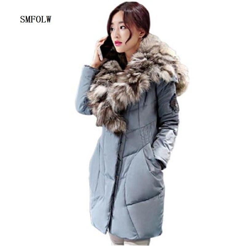 winter jacket women 2017 winter new high fashion women's luxurious large fox fur coat warm jacket parkas good quality
