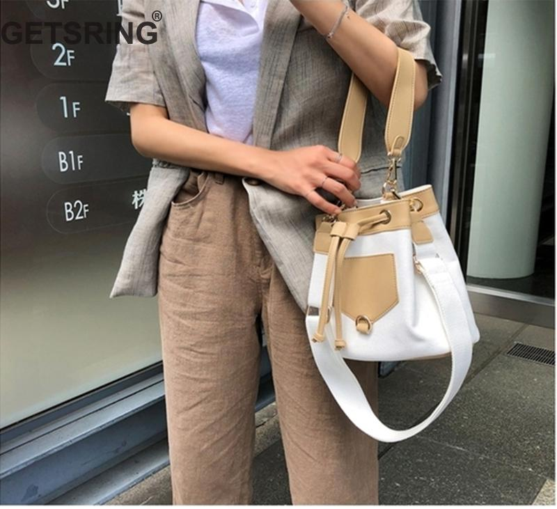 Woman Bag Handbag Shoulder Bag Color Matching Bucket Canvas For Woman Vintage Handbags Black