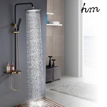 ¿Negro lluvia ducha termostática grifo monomando de latón válvula mezcladora Rack baño grifería de ducha de Ducha