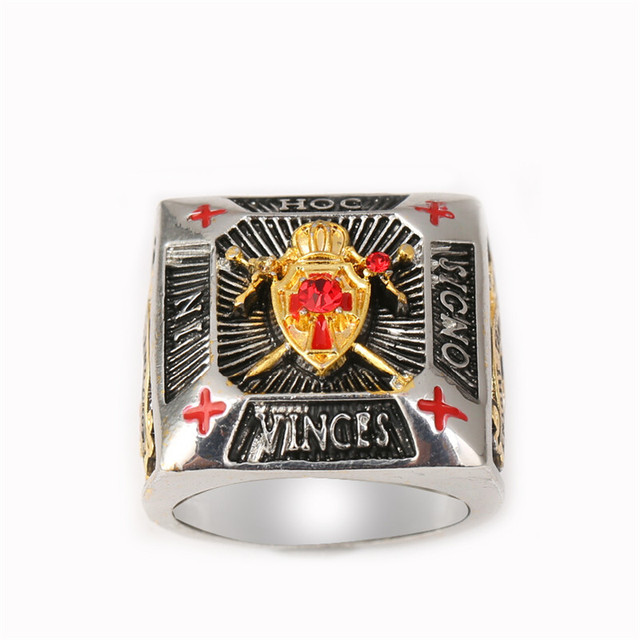 US $11 0 |SMR0105 Silver & Gold plated IN HOC SIGNO VINCES Knights Templar  ring for men Masonic championship ring jewelry-in Rings from Jewelry &