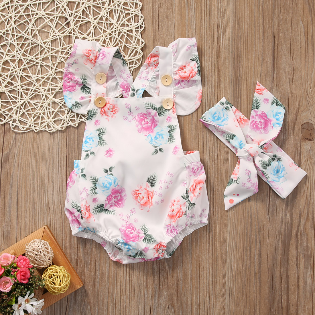 Cute Kids Baby Girls Floral Sweet   Romper   One-pieces Summer Clothes + Headband Sunsuit Children Clothing Sets