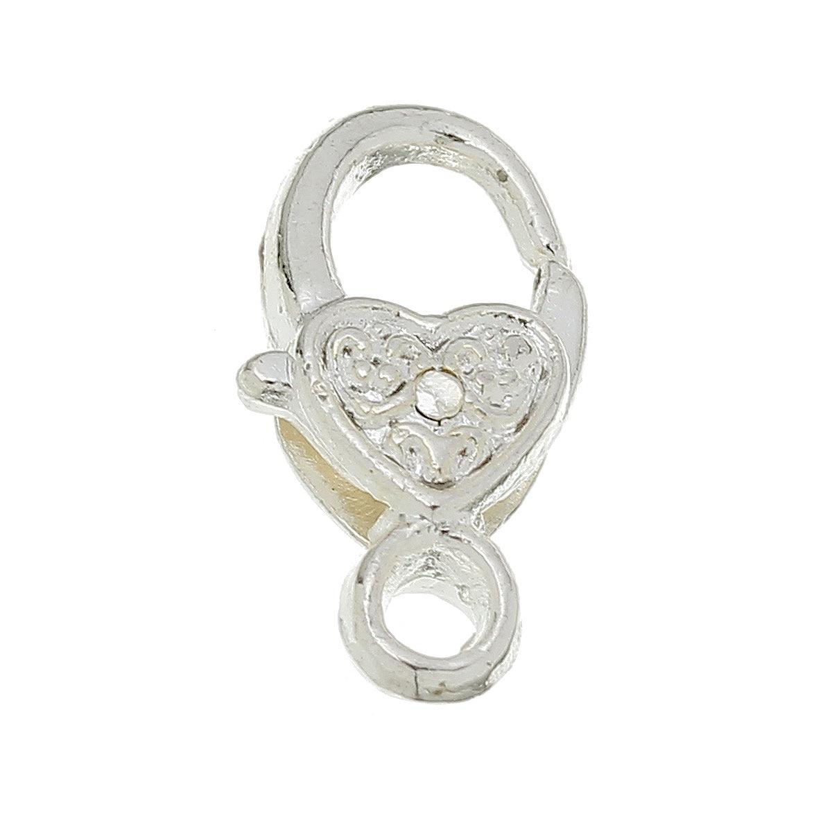 DoreenBeads Zinc Metal Alloy Lobster Clasp Findings Silver Color Heart Pattern 17mm( 5/8