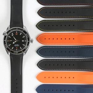 Image 3 - עמיד למים רצועת השעון גומי סיליקון רצועת עבור אומגה AT150 20mm 22mm ים מאסטר 300 שחור כחול אוקיינוס ספורט גבר 8900 + כלים