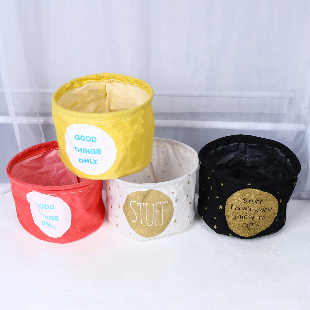 Storage-Basket Desktop Foldable Home-Organization-Accessory Cotton Waterproof Linen 1PC