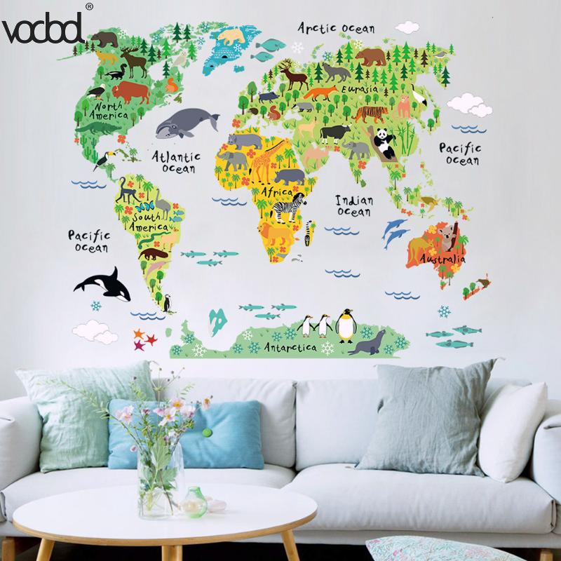 Funny And Educational Removable DIY PVC Mural Wallpaper Animal World Map Stickers Decal For Home School Office Stationery Decor