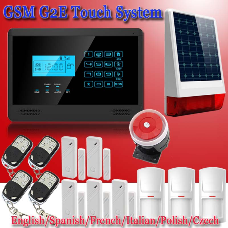Wireless GSM SMS Home Alert Security Alarm System, PIR Motion Sensor, Door Gap Detector,wireless home alarm Solar Powered Strobe
