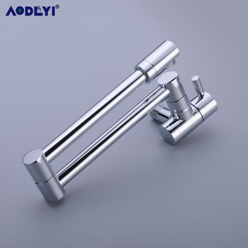 Image 4 - Brass Wall Mounted Kitchen Faucet Pot Filler Faucet Swivel Folding Retractable Rotary Stretch  Basin Faucet Sink Tap-in Kitchen Faucets from Home Improvement