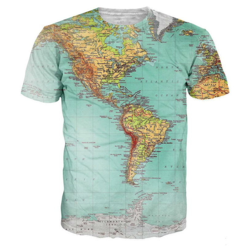0ce48661f76d Map 3D Printed T-shirts World Urban Threads Hipsters Retro Globe Image Of  The Americas