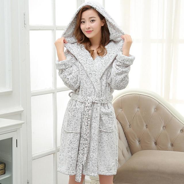 New winter robe female coral velvet thicken bathrobe autumn flannel hood jacquard leopard pajamas home service YF120