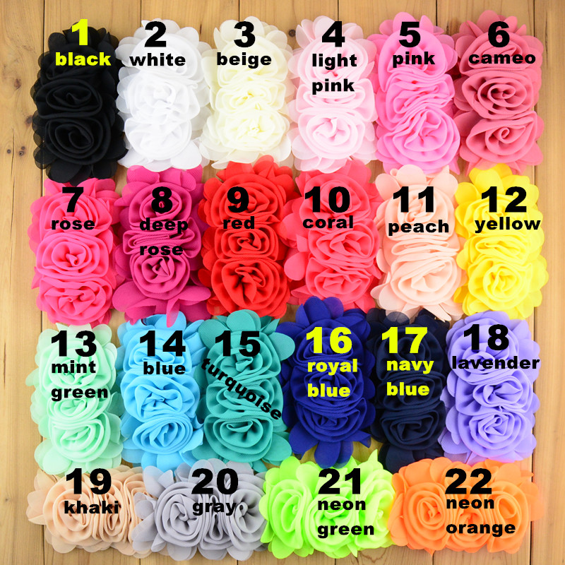 60pcs lot 3 Chiffon Fabric Flowers Triple Rolled Rosette In Center DIY girls Garment Hair Accessories