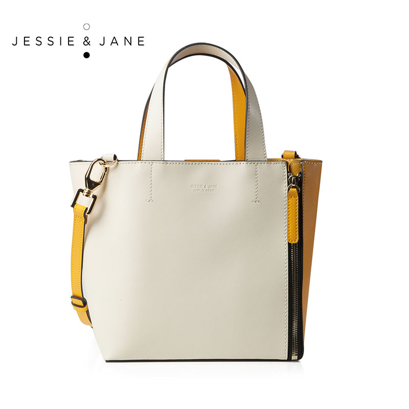 JESSIE JANE Designer Brand 2016 New Women s Small Double Faced Panneled Split Leather Totes 1299
