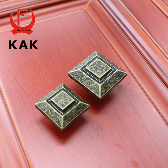 KAK Antique Brass Square Handles Knobs Drawer Wooden Jewelry Box