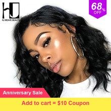 Short Lace Front Human Hair Wigs Brazilian Remy Hair Natural Wave Bob Wig with Pre Plucked Hairline Lace Wig For Black Women(China)