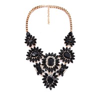 Statement Fashion Women 2016 Gun Black Stone Necklaces Pendant Collier Femme Collar Choker Vintage Maxi Chunky