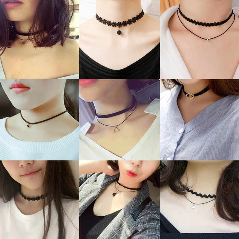 Wholesale New Styles Bijoux Love Vintage Triangle Geometry Tattoo Waterdrop Clavicle Torques For Women Chain Jewelry