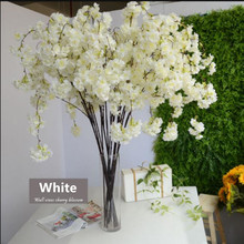 2pcs 135cm vertical Silk Cherry Blossom Branch Flower for wedding decoration DIY Cherry trees artificial flower bouquet White