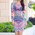 Sexy Women Tribal Tattoo Print Mesh Bodycon Dress 2016 Women Long Sleeve Multi Color Retro Mesh  Club   dresses