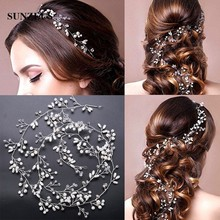 1M Crystal Pearls Hair Accessories 2017 New Bridal Hair Sash Beautiful Silver Wedding Hair Ornaments Bijoux Cheveux Mariage