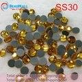 Min encomendar $10 Frete Grátis Ouro Topázio 288 pçs/lote ss20 DMC Strass Hotfix Plano de volta ferro em vidro Hot Fix cristal pedra