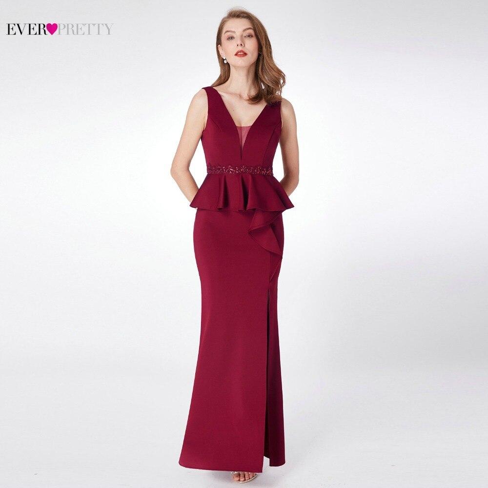 2019 Prom Dresses Ever Pretty EP07271 Elegant A-line V-neck Sleeveless Leg Slit Burgundy Beading Evening Party Dresses for Women