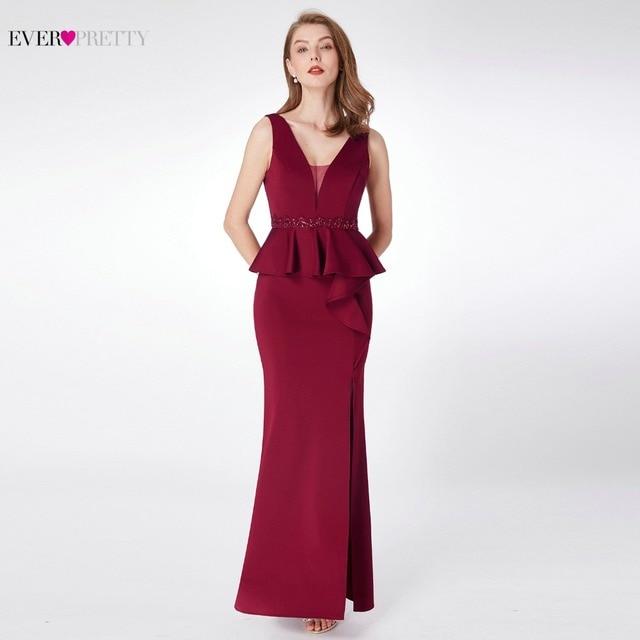 2020 שמלות נשף אי פעם די EP07271 אלגנטי אונליין צווארון V שרוולים רגל סדק בורגונדי ואגלי ערב מסיבת שמלות לנשים