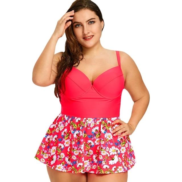 02ab2fe3e24f3 2018 Plus Size Swimwear Skirt Women Tankini Swimsuits High Waist Swimsuit  Dress Brazilian Bathing Suits Retro Swimming suit