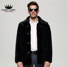 In the long men's mink coat buckle lapel fur coat black gentleman