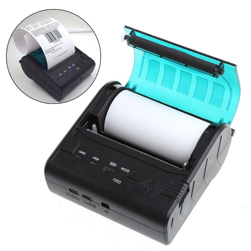 Portable Mini 80mm Paper Width Bluetooth 2.0 Wireless Receipt Thermal Printer For Android IOS goojprt mtp ii 58mm bluetooth thermal printer portable rechargeable wireless receipt machine for windows android ios 80mm s