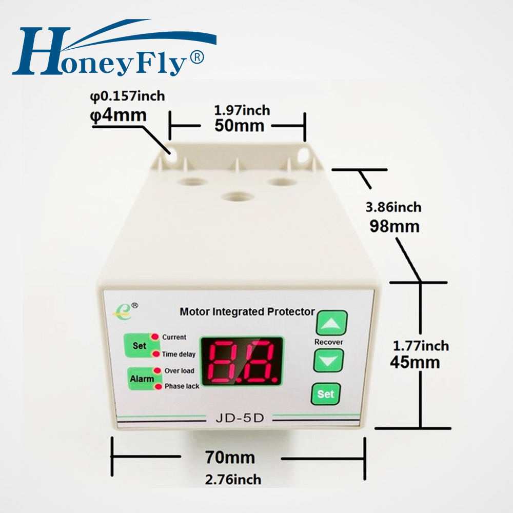 HoneyFly NEW JD-5D Motor Protection Relay 220V Digital Thermal Relay JD-5 Motor Integrated Protector OverLoad Protection Relay