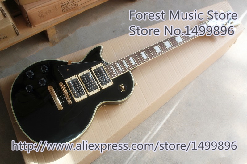 Glossy Black Left Handed LP Custom Electric Guitars China Gold Hardware Guitar Free Shipping human new arrival 7 strings electric guitar matte black clouds striped body and head black hardware free shipping
