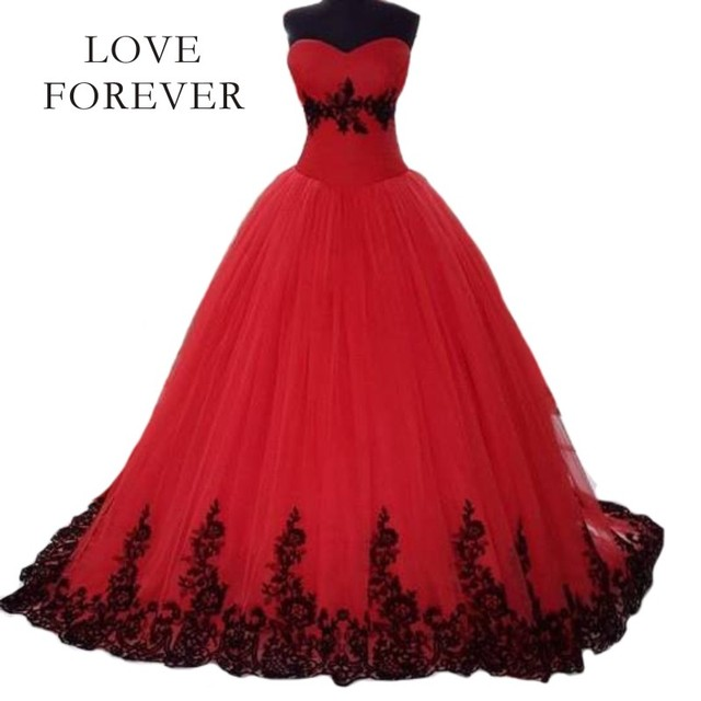 Red Ball Gown Wedding Dress 2017 vestido de noiva Black Lace ...